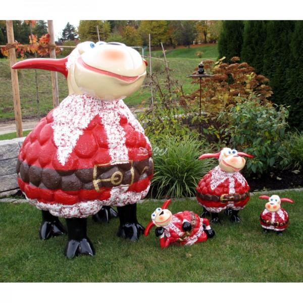 Wölkchen Schafe 4er Set mit Kunstbemalung Weihnachtsmann