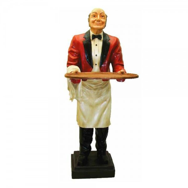 Butler / Kellner mit Tablett rote Jacke (lebensgroß)