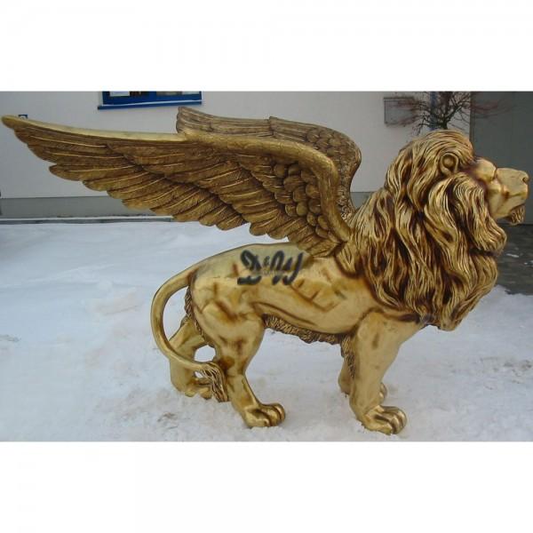 Löwe stehend mit Flügeln goldfarben Patina (lebensgroß)