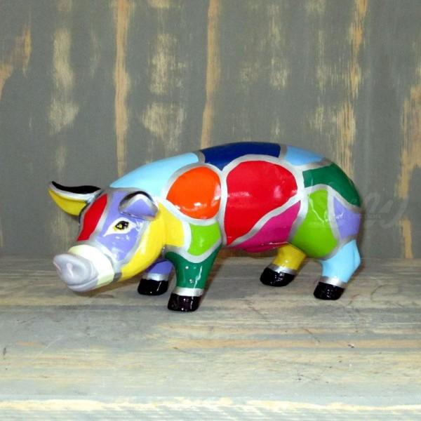 """Schwein mit Kunstbemalung """"Mosaik"""" (micro)"""