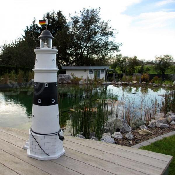 """Leuchtturm """"Kampen"""" 120 cm Sylt schwarz-weiß - Fuß: 40 cm"""