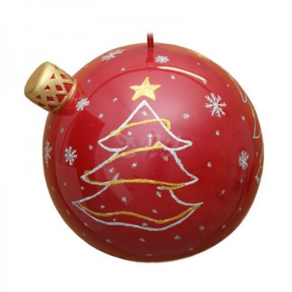 Weihnachtsbaum-Kugel 40 cm Durchmesser rot/gold/silber mit Weihnachtsbaum, Sternen und Schneeflocken