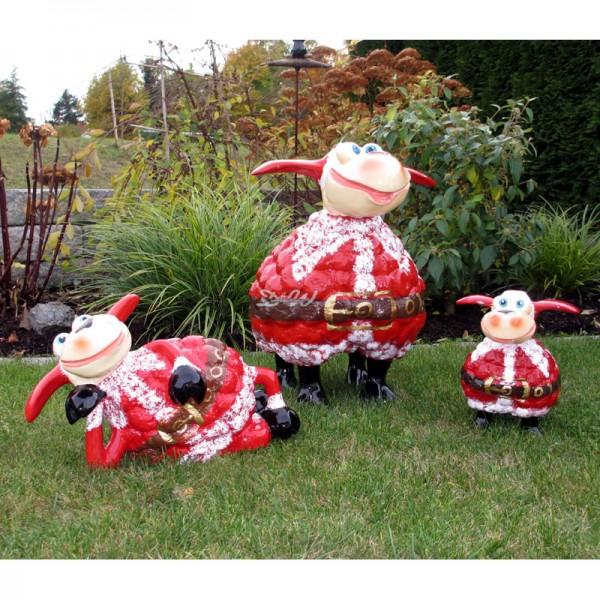 Wölkchen Schafe 3er Set mit Kunstbemalung Weihnachtsmann
