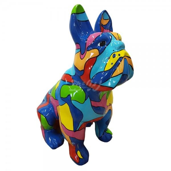 """französische Bulldogge Hund mit Kunstbemalung """"bunte Flecken"""" sitzend (klein)"""