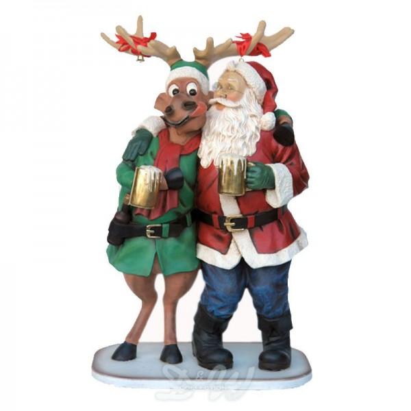 Weihnachtsmann und Elch / Rentier Rudi - Happy Hour (lebensgroß)