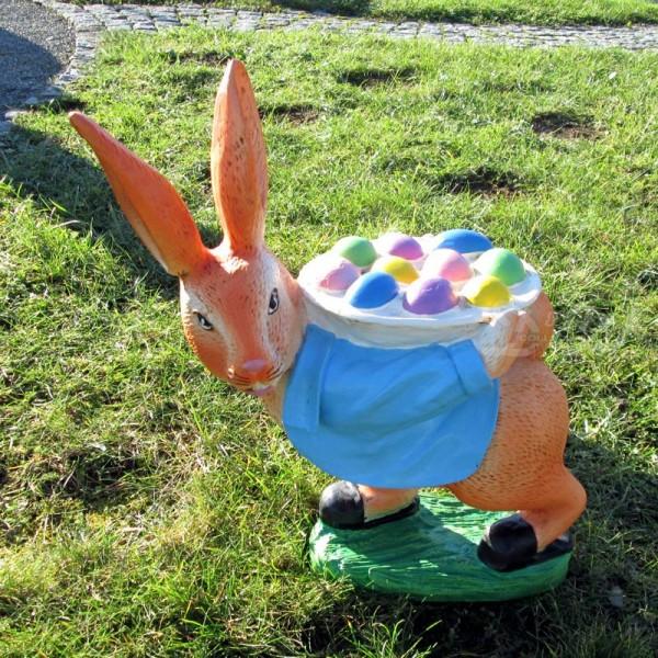 Osterhase mit bunten Eiern - Jacke hellblau (klein) Hase