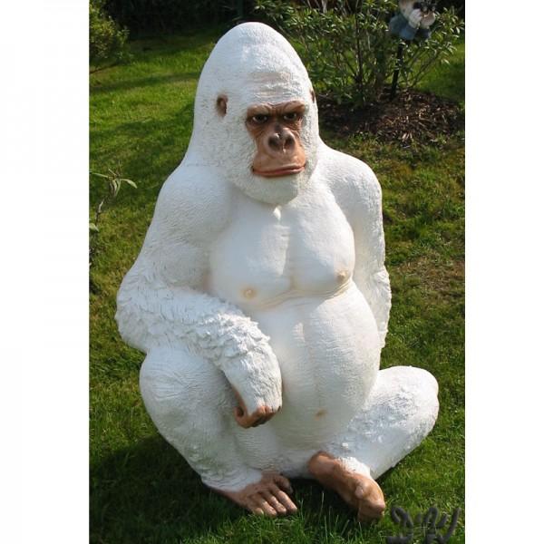 Gorilla Affe George sitzend weiß (lebensgroß)